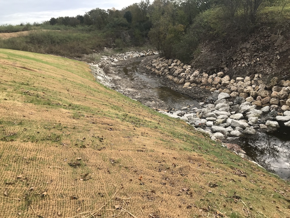 Erosion control managed a storm water drainage problem